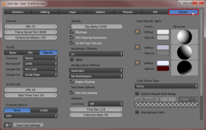 Blender User Preferences画面