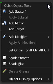 Quick Tools Menu (Object Mode)