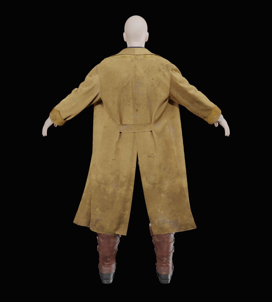 Marvelous Designerで作成した衣装(背面)